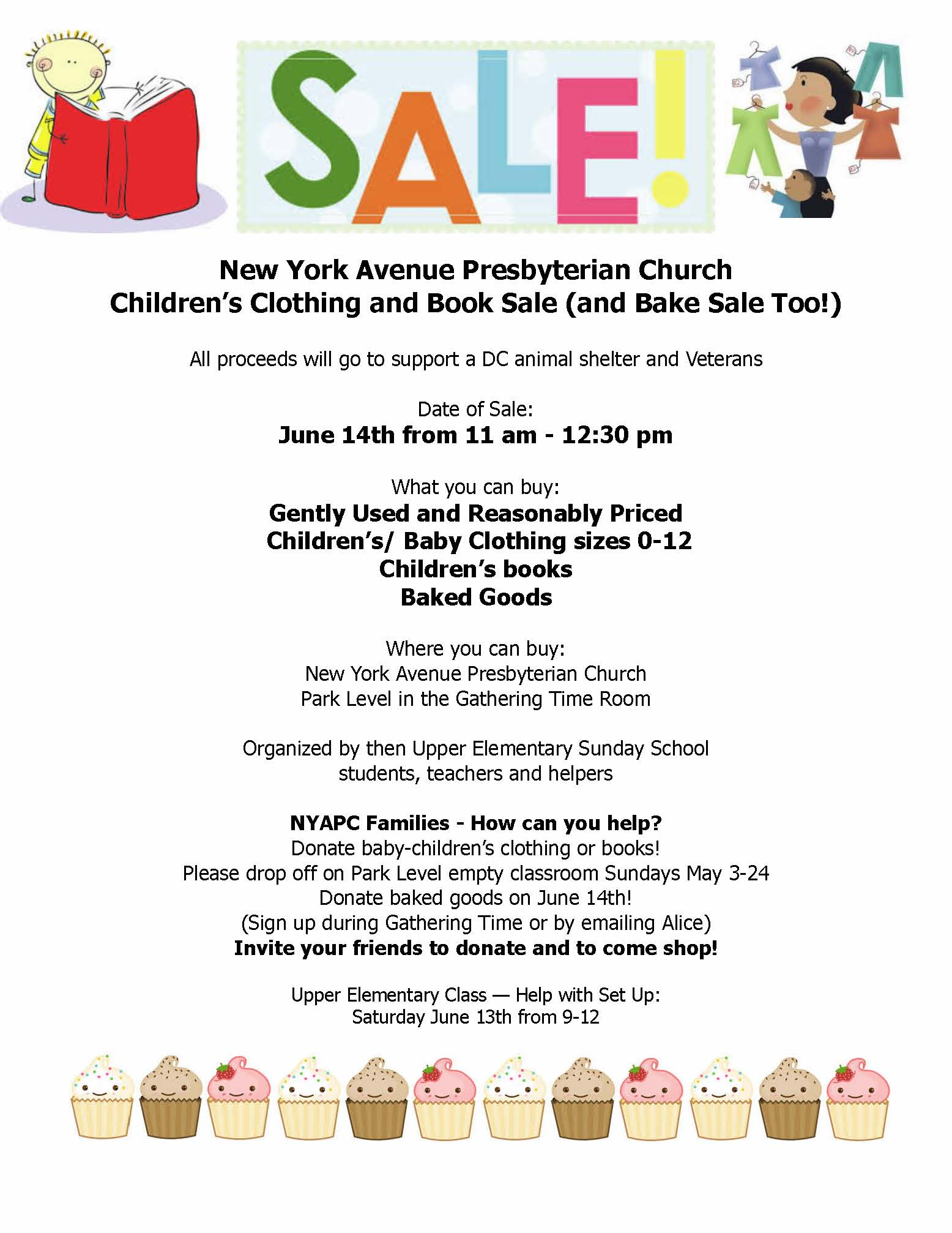 Children's Clothing and Book and Bake Sale June 14th – The New York